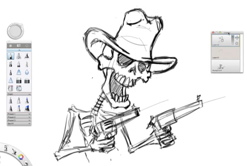 Time Lapse Skeleton Gunfighter Sketch