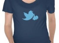 A cute new maternity shirt design featuring a twitter stork.